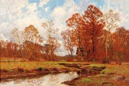 William Merritt Post (American, 1856-1935)    Meandering Stream in Autumn