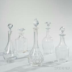 Five Baccarat or St. Louis Crystal Decanters