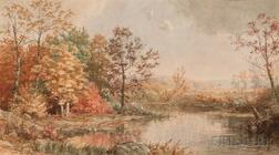 Jasper Francis Cropsey (American, 1823-1900)      Lake View in Fall
