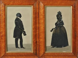 Pair of Cutwork Silhouettes of an Older Man and Woman