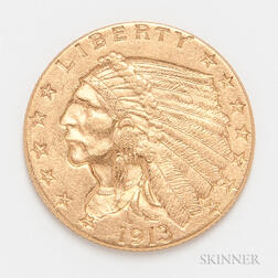 1913 $2.50 Indian Head Gold Coin.     Estimate $200-300