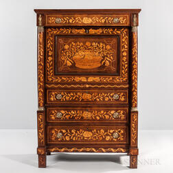 Mahogany and Mahogany- and Walnut-veneered Marquetry Secretaire a Abattant