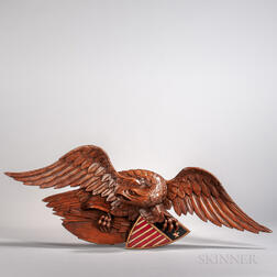 "Carved and Painted ""Newport"" Eagle Plaque"
