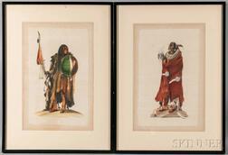 Three Framed La Roche Laffitte Watercolor Portraits of Native Americans