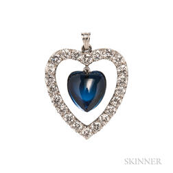 Platinum, Synthetic Sapphire, and Diamond Heart Pendant