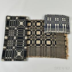Three Blue and White Double Weave Coverlets