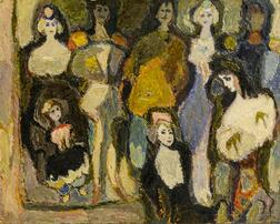 Italian or Russian School, Mid-20th Century    Expressionist-style Painting of a Fashionably Dressed Group