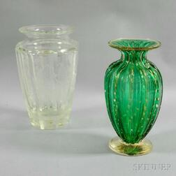Moser Etched Colorless Glass Vase and a Green Gambaro & Poggi Murano Glass Vase