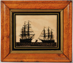 Reverse Painting on Glass of the HMS Marlborough