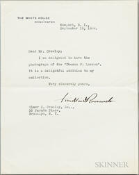 Roosevelt, Franklin Delano (1882-1945) Typed Letter Signed, Newport, Rhode Island, 15 September 1934.
