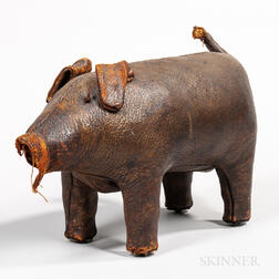 Leather Pig-form Ottoman