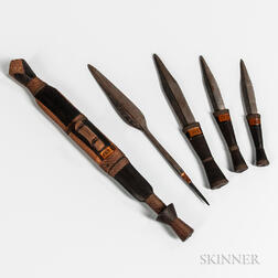 Four African Knives and a Spear Point