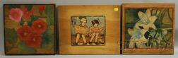 American School, 20th Century      Lot of Three Unsigned Works on Wood Panels