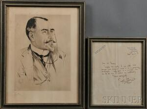 Conrad, Joseph (1857-1924) Autographed Letter Signed, and Framed Portrait.