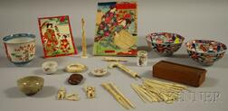 Group of Miscellaneous Paper, Bone, and Porcelain Items