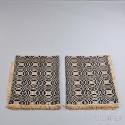 Blue and White Overshot Coverlet in Two Parts