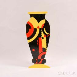 Mo McDermott Painted Wood Vase Sculpture