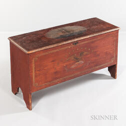 Large Red-painted Blanket Chest with Maritime-themed Paint Decoration