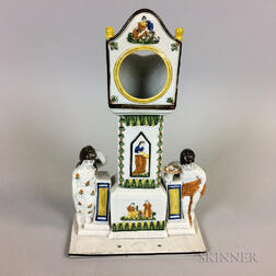 Dixon, Austin & Co. Staffordshire Prattware Ceramic Watch Hutch