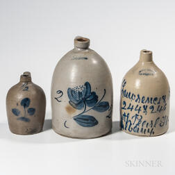 Three Cobalt-decorated Stoneware Jugs