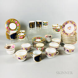 Group of English Floral-decorated Ceramic Teaware
