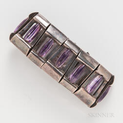 Antonio Pineda Mexican Silver and Amethyst Bracelet