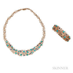 14kt Gold, Turquoise, and Lapis Bracelet and Necklace, Grosse