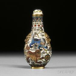 Cloisonne Snuff Bottle with Shishi   Lions