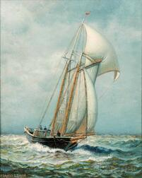 James Gale Tyler (American, 1855-1931)    Sailing in a Stiff Breeze