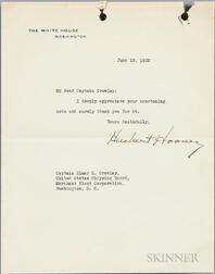 Hoover, Herbert (1874-1964) Typed Letter Signed, 18 June 1932.