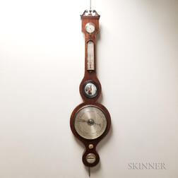 Georgian-style Inlaid Mahogany Veneer Wheel Barometer