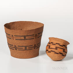 Two Northwest Coast Twined Baskets