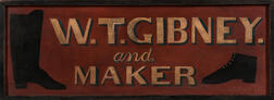 "Painted ""W.T. Gibney Boot & Shoe Maker"" Sign"