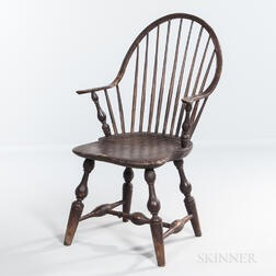 Brown-painted Continuous Arm Bow-back Windsor Chair