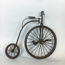 Small Wrought Iron Tricycle and a Miniature Big-wheel Bicycle
