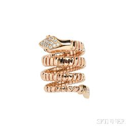 18kt Rose Gold and Diamond Snake Ring