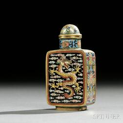 Cloisonne Snuff Bottle with Dragon and Phoenix