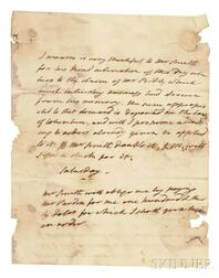 Monroe, James (1758-1831) Autograph Letter, Undated.
