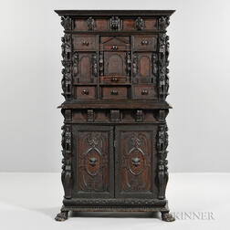 Continental Baroque-style Carved Walnut Cabinet
