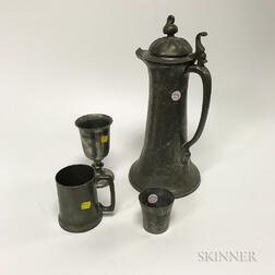 Fourteen Pewter Drinking Vessels