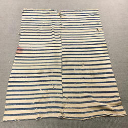 Two-piece Indigo and Ivory Striped Blanket