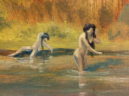 Louis Michel Eilshemius (American, 1864-1941)      Three Nude Women in Water