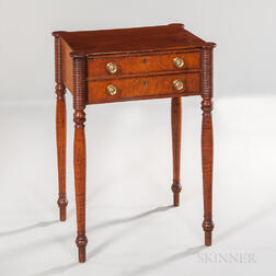 Mahogany and Tiger Maple and Bird's-eye Maple Veneer Two-drawer Stand