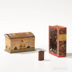 Small Paint-decorated Dome-top Box and Two Miniature Book Items