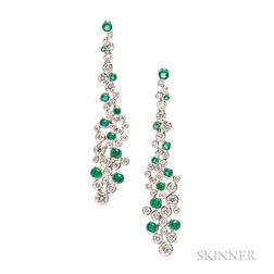 18kt White Gold, Emerald, and Diamond Earrings