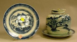 Chinese Export Porcelain Canton Blue and White Ginger Jar and Two Plates.