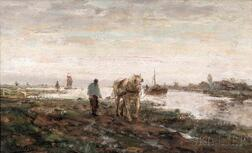 Evert Pieters (Dutch, 1856-1932)      Horse and Driver by a Waterway