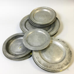 Eighteen Pewter Plates and Chargers