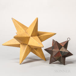 Two Painted Metal Star-form Decorations