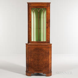 Diminutive Mahogany and Burlwood-veneered Corner Cabinet